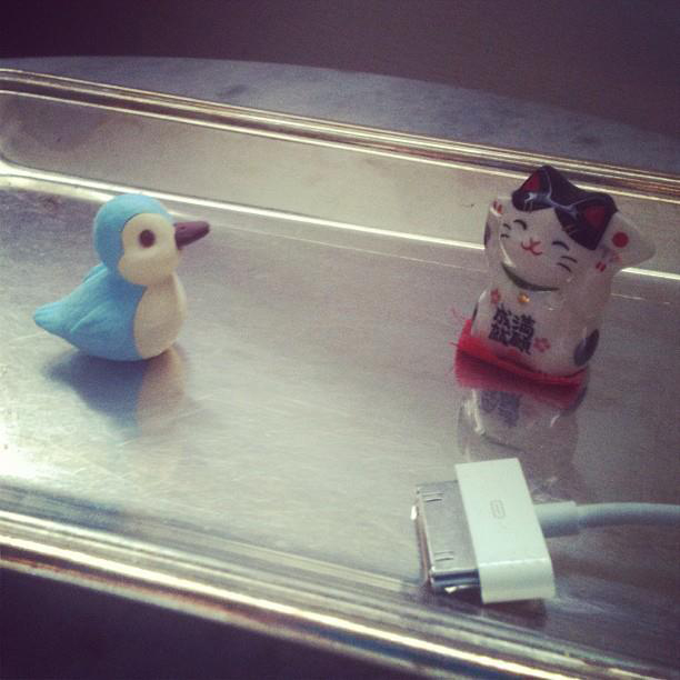 Bluebird eraser & lucky cat